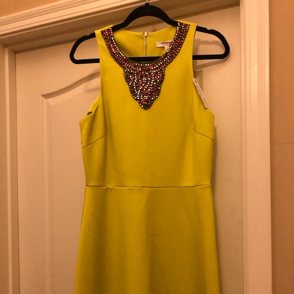 spense Dresses & Skirts - Gorgeous lime dress with hand beaded collar.